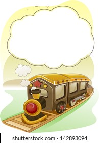 Background Illustration of Train with Smoke as Frame