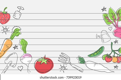 Background Illustration of Vegetables and Garden Tools Doodles as Border