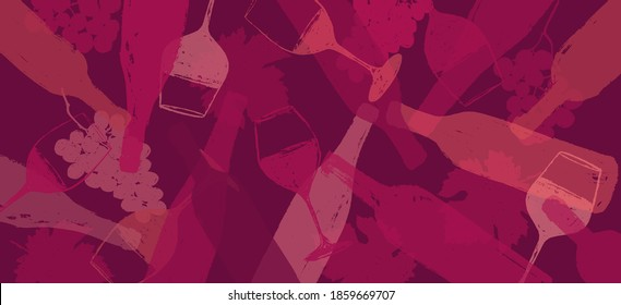 background illustration for wine designs. Handmade drawing of wine glasses, bottles, grapes and vine leaf. Red wine color. Background for web banners, backdrops, covers, presentations. Vector