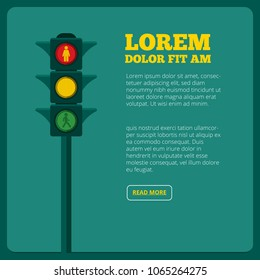 Background illustrations of traffic light and place for your text. Transportation light traffic, stoplight and semaphore banner vector