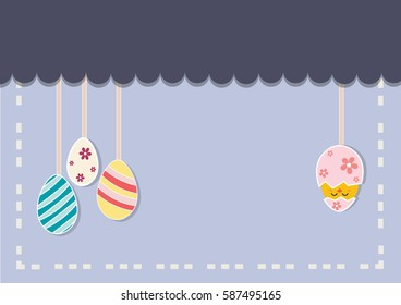 Background image of Easter eggs. Easter egg with a rope hanging on a third many colored bubbles. The other side has broken Easter egg 1 egg, chick out there can put any message. Applied to the media.