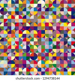 Background image made using various colored shapes. Vector illustration.