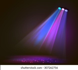 Background image of spotlights with stage in color, vector