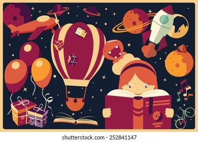 Background with imagination items and a girl reading a book, balloons, rocket ship, space, planets, vector illustration