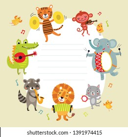 Background for an inscription with cute animals with musical instruments. Funny orchestra