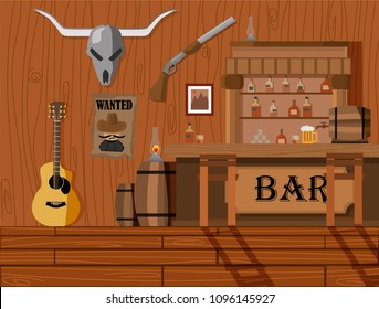 A background interior of wild west saloon easy to edit