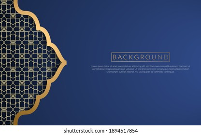 Background islamic arabic culture golden art deco template , frame decoration islam background ornament template gold , business blue background gradient