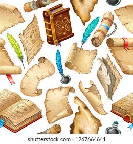 Background isometric books of magic spells and witchcraft, royal scrolls and parchments, old sheets of paper for computer game. Fairy tale icon in cartoon style. Isolated 3d vector illustration.