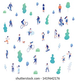 Background isometric people characters. Outdoor activity. Park, nature. People walking, running,riding bicycle. Isometric vector characters isolated on white.