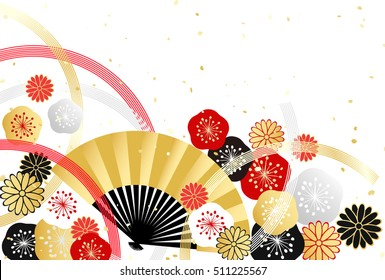Background of Japanese style plum and chrysanthemum and fan for the celebration