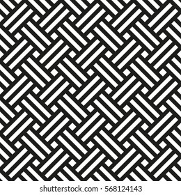 Background Japanese tatami mat. Seamless black and white pattern, vector illustration