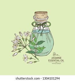 Background with  jasmine flower and bottle of  jasmine essential oil. Cosmetic, perfumery and medical plant. Vector hand drawn