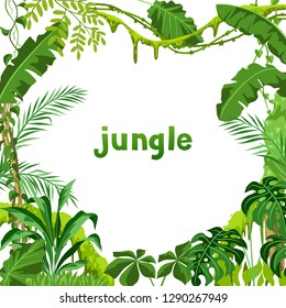 Background with jungle plants. Tropical leaves. Woody natural rainforest.
