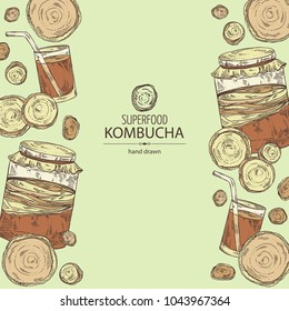Background with kombucha: mushroom, jar with kombucha tea. Super food. Vector hand drawn illustration