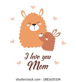 background with lamas, heart, english text I love you mom, poster design, llama, decorative illustration, baby and mother, mothers day, happy alpacas