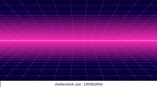 Background Landscape 80s Style. Synthwave, retrowave wallpaper designs. Vector eps 10