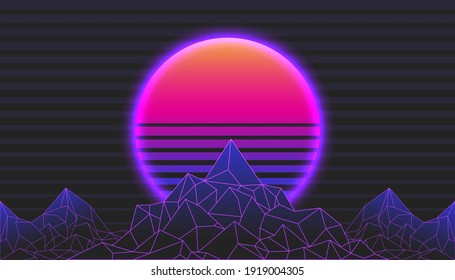 Background Landscape 80s Styled. Synthwave, retrowave, cyber neon with copy space.
