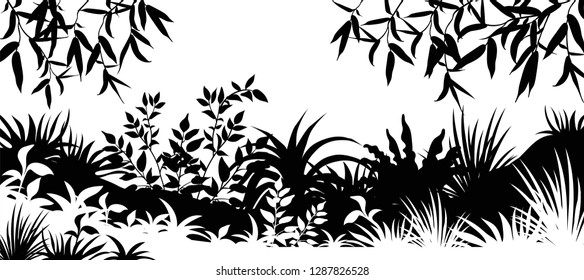 Background laser cutting plants forest. Silhouette leafs trees and grass. Vector illustration.