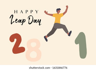 Background Leap day leap year 29 February calendar and men jump from the twenty eighth to the first Illustration vector graphic.