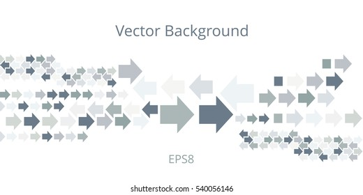 Background with left and right direction arrows in gray tones. Abstract technology banner of geometric arrowhead symbols on white backdrop. Vector eps8 illustration.