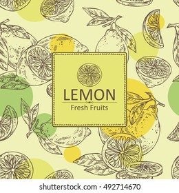 Background with lemon . hand drawn