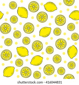 Background with lemons. Vector cute fruits seamless pattern.