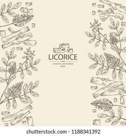 Background with licorice: licorice plant, flowers and licorice root. Cosmetics and medical plant. Vector hand drawn illustration.