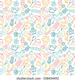 Background for little boys and girls in sketch style. Doodle children drawing background. Hand drawn children drawings color seamless pattern. Vector illustration.