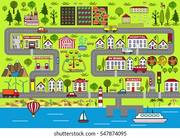 Background of a lively city with houses, streets, an amusement park, cars, suburbs. Design for baby mats, games, books, and other