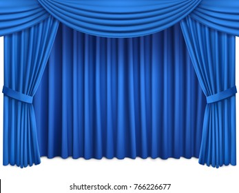 Background with luxury blue red silk curtains and lambrequin