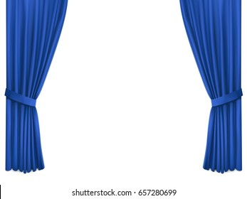 Background with luxury blue silk velvet curtains