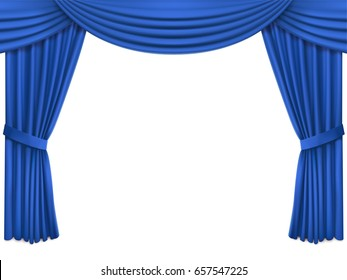 Background with luxury blue silk velvet curtains and lambrequin