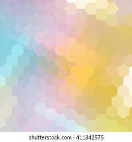 Background made of hexagons. Square composition with geometric shapes. Eps 10 Yellow, pink, blue colors.