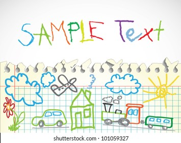 Background made of papers with colorful child drawings symbols