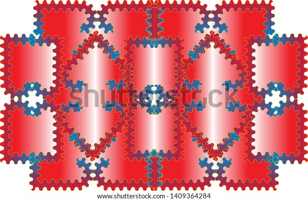 The background is made up of various wave-lined rectangles assembled in the shape of a large rectangle, painted in red and blue.