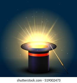 Background Magic Hat With Glow. Magic Wand Vector Illustration