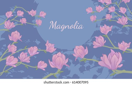 Background with magnolia tree and text space in the middle. Blue and pink. Vector illustration.