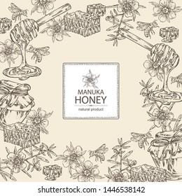 Background with manuka honey: flowers of manuka, bee and jar of honey, honeycomb. Vector hand drawn illustration.