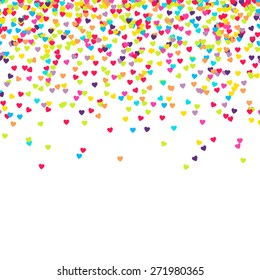 Background with many falling tiny heart shaped confetti pieces