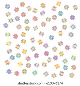 Background of Many Flowers with Red, Green, Blue, Yellow and Violet Petals on White Background