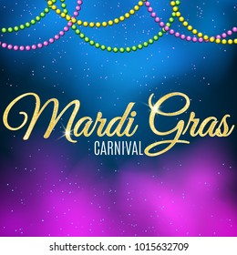 Background for Mardi Gras carnival. Gold glitter text. Welcome to the carnaval. Golden shine. Colorful balls. Violet blue smoke. Mysterious fog. Vector illustration