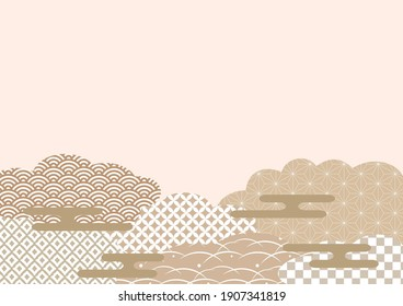 Background material vector illustration using traditional Japanese patterns.