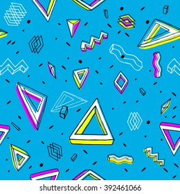 Background in the Memphis style. Seamless geometric pattern. Retro  80's. Textile. Fashion style