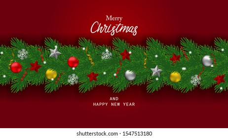 Background merry christmas and happy new year. With border of realistic looking christmas tree branches decorated with snow, stars and ball.
