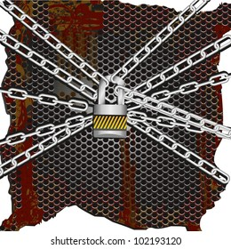 background of metal chains lock together on a rusty metal background