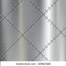 Background of the metal plates with riveted. Vector image.