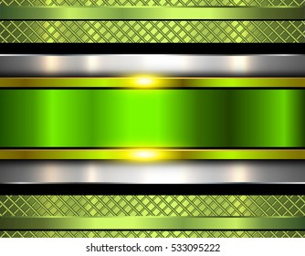 Background metallic, shiny green metal texture, vector illustration.