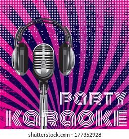 background with microphone and headphones for karaoke party