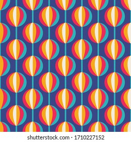 Background Mid-century modern style vector art. Abstract geometric seamless pattern. Decorative ornament in retro vintage design style. Blue, red, orange, beige colors. Atomic stylized backdrop.