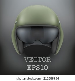Background of Military flight helicopter helmet. Vector illustration isolated on white background.